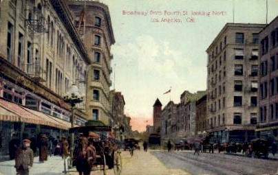 Broadway from Fourth St. Looking North - Los Angeles, California CA Postcard
