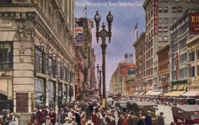 Busy Broadway - Los Angeles, California CA Postcard