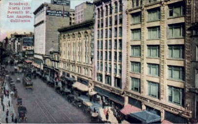 Broadway North - Los Angeles, California CA Postcard