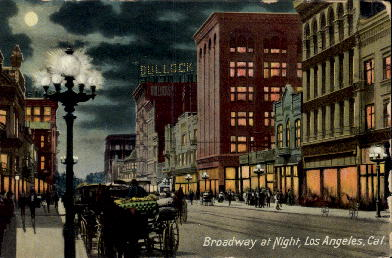 Broadway at Night - Los Angeles, California CA Postcard
