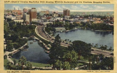 General Douglas MacArthur Park - Los Angeles, California CA Postcard