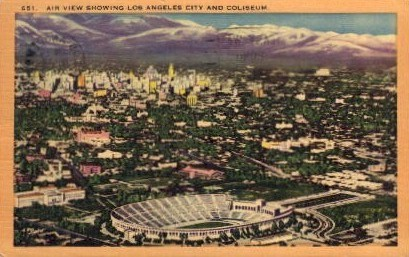 Los Angeles City and Coliseum - California CA Postcard