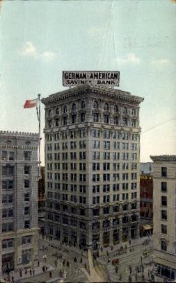 German - American Savings Bank - Los Angeles, California CA Postcard