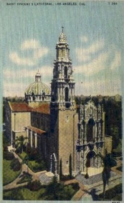 Saint Vincent's Cathedral - Los Angeles, California CA Postcard