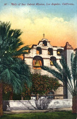 Bells of San Gabriel Mission - Los Angeles, California CA Postcard