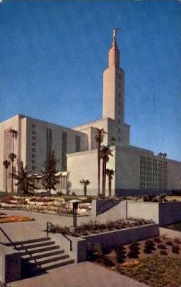 Mormon Temple - Los Angeles, California CA Postcard