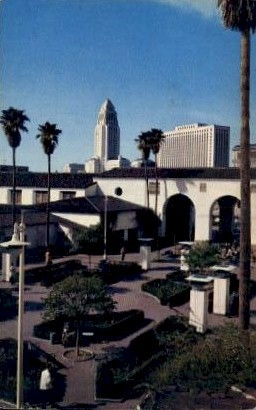 Patio at Union Station Passenger Terminal - Los Angeles, California CA Postcard