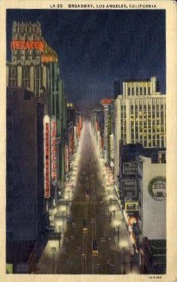 Broadway - Los Angeles, California CA Postcard