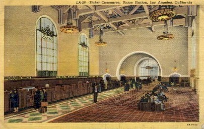 Ticket Concourse - Los Angeles, California CA Postcard