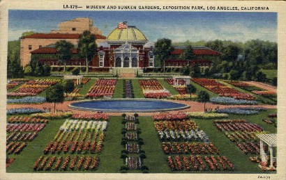 Museum and Sunken Gardens - Los Angeles, California CA Postcard