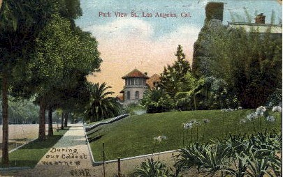Park View Street - Los Angeles, California CA Postcard