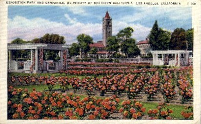 Exposition Park and Campanile - Los Angeles, California CA Postcard