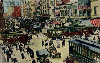 The Busiest Corner - Los Angeles, California CA Postcard