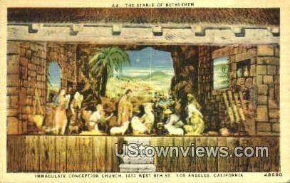 The Stable of Bethlehem - Los Angeles, California CA Postcard