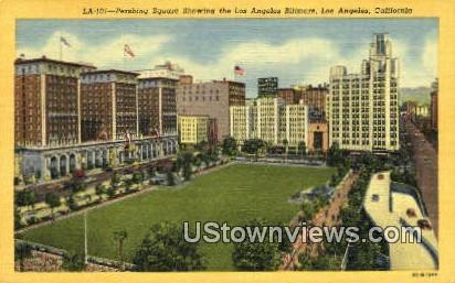 Pershing Square, LA Biltmore - Los Angeles, California CA Postcard