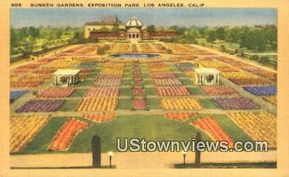 Sunken Gardens, Exposition Park - Los Angeles, California CA Postcard