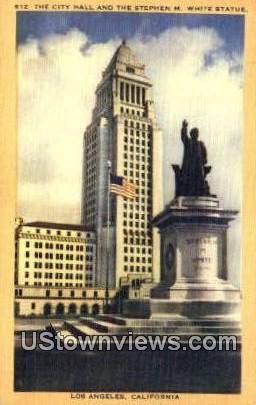 City Hall, Stephen M. White Statue - Los Angeles, California CA Postcard