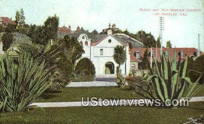 Plaza & Old Mission Church - Los Angeles, California CA Postcard