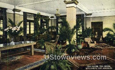 Foyer, Tea Room, Bullock's - Los Angeles, California CA Postcard
