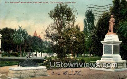 Soldiers' Monument, Central Park - Los Angeles, California CA Postcard