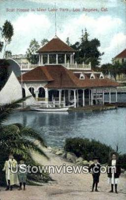 Boat House, West Lake Park - Los Angeles, California CA Postcard
