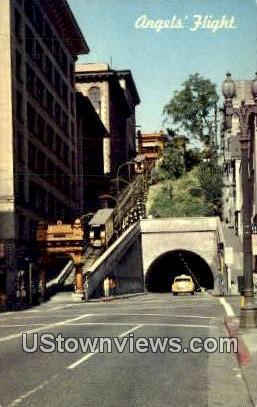 Angel's Flight Railway - Los Angeles, California CA Postcard