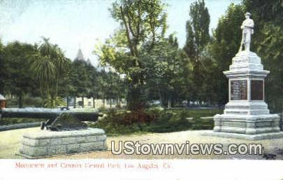 Monument & Cannon Central Park - Los Angeles, California CA Postcard