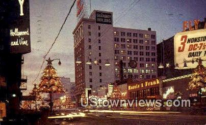 Hollywood & Vine - California CA Postcard