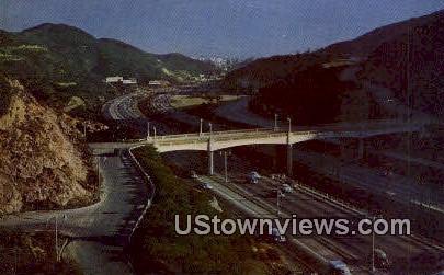 Ventura Freeway - Hollywood, California CA Postcard