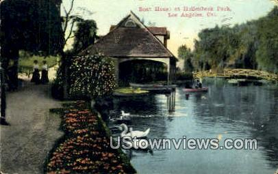 Boat Houses, Hollenbeck Park - Los Angeles, California CA Postcard