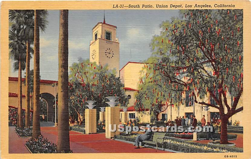South Patio, Union Depot - Los Angeles, California CA Postcard