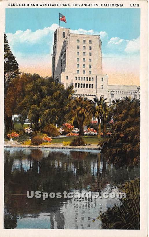Elks Club & Westlake Park - Los Angeles, California CA Postcard