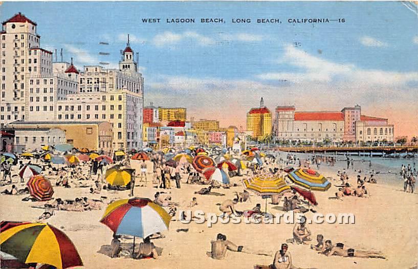 Lagoon Beach - Long Beach, California CA Postcard