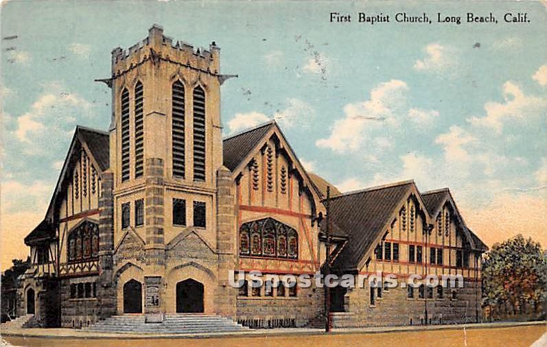 First Baptist Church - Long Beach, California CA Postcard