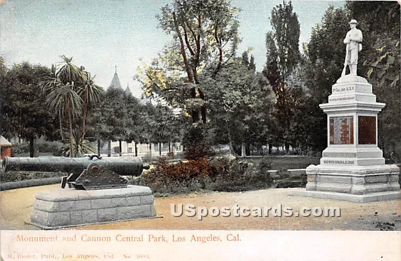 Monument & Cannon Central Park - Los Angeles, California CA Postcard