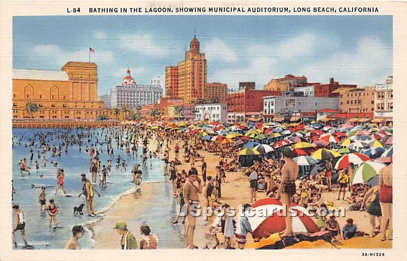Bathing, Municipal Auditorium - Long Beach, California CA Postcard