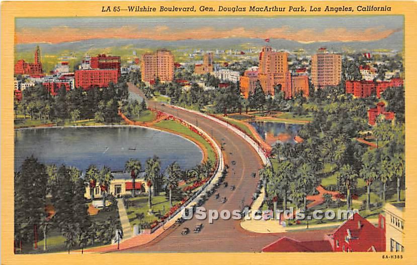 Wilshire Boulevard, Westlake Park - Los Angeles, California CA Postcard