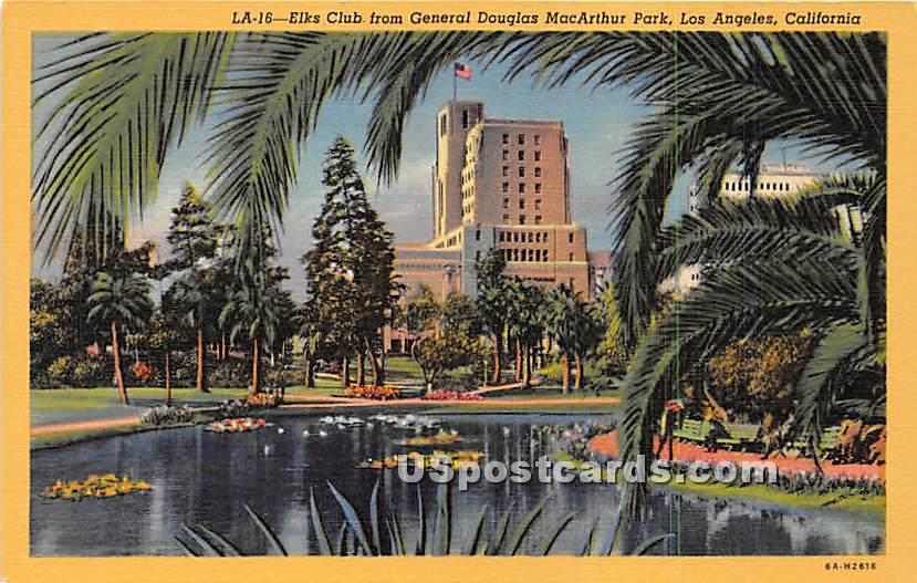Elks Club, General Douglas MacArthurn Park - Los Angeles, California CA Postcard