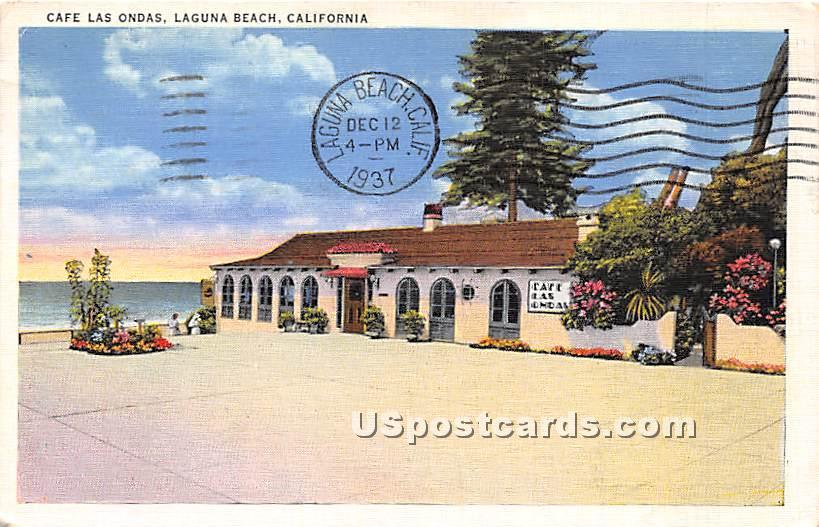 Cafª Las Ondas - Laguna Beach, California CA Postcard