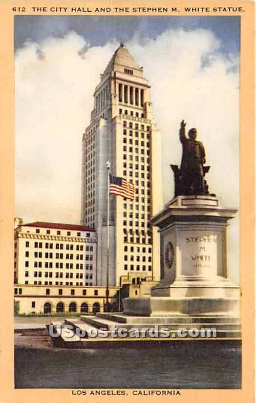 City Hall, Stephen M White Statue - Los Angeles, California CA Postcard
