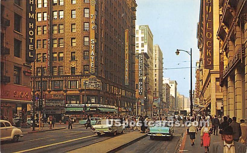 Seventh & Broadway - Los Angeles, California CA Postcard