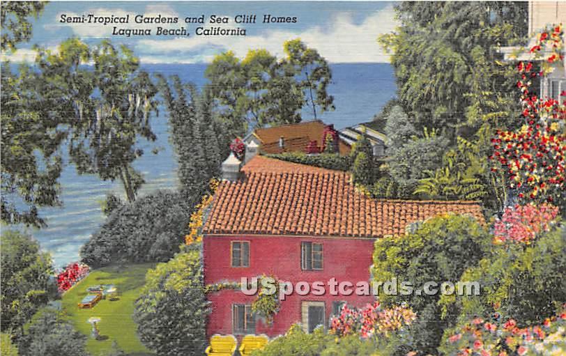 Semi Tropical Gardens, Sea Cliff House - Laguna Beach, California CA Postcard