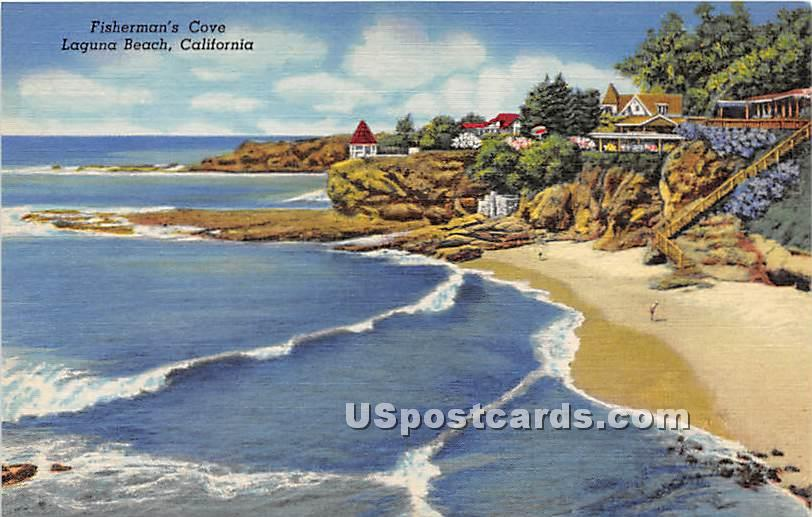 Fisherman's Cove - Laguna Beach, California CA Postcard