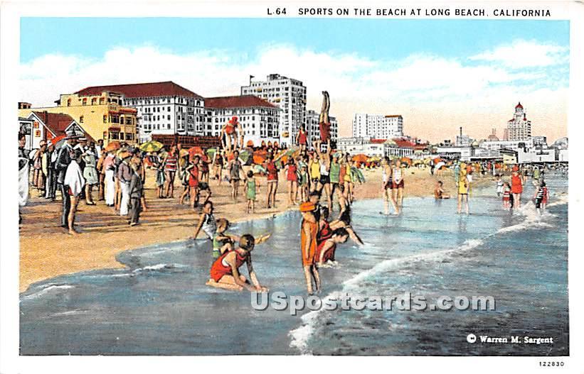 Sports on the Beach - Long Beach, California CA Postcard