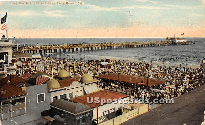 Long Beach Strand & Pier - California CA Postcard