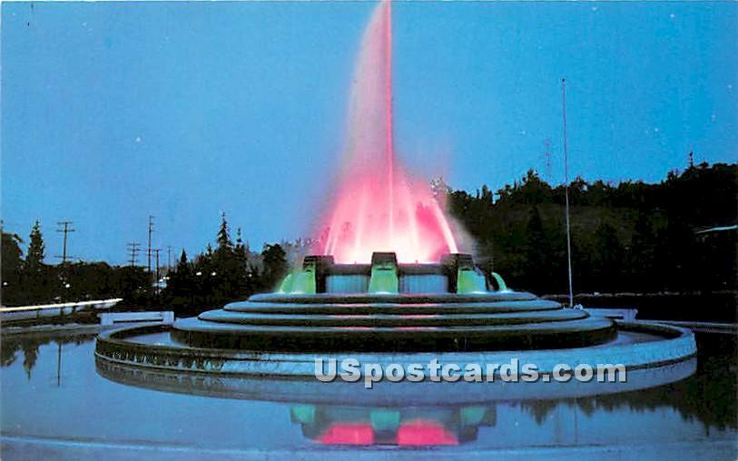 Mulholland Memorial Fountain - Los Angeles, California CA Postcard
