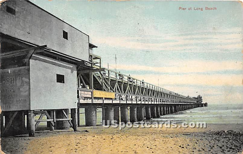 Pier - Long Beach, California CA Postcard