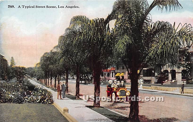 Typical Street - Los Angeles, California CA Postcard