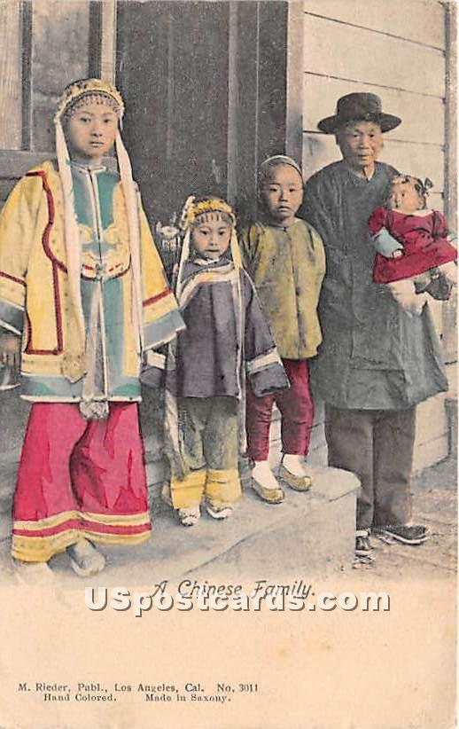 Chinese Family - Los Angeles, California CA Postcard