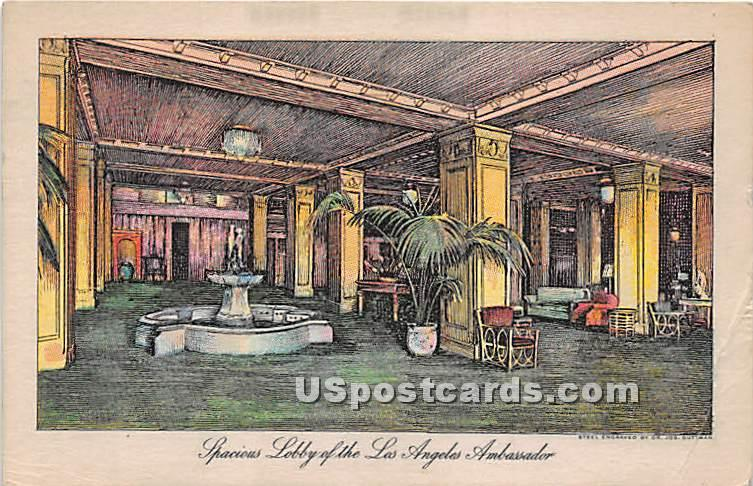Lobby, Los Angeles Ambassador - California CA Postcard